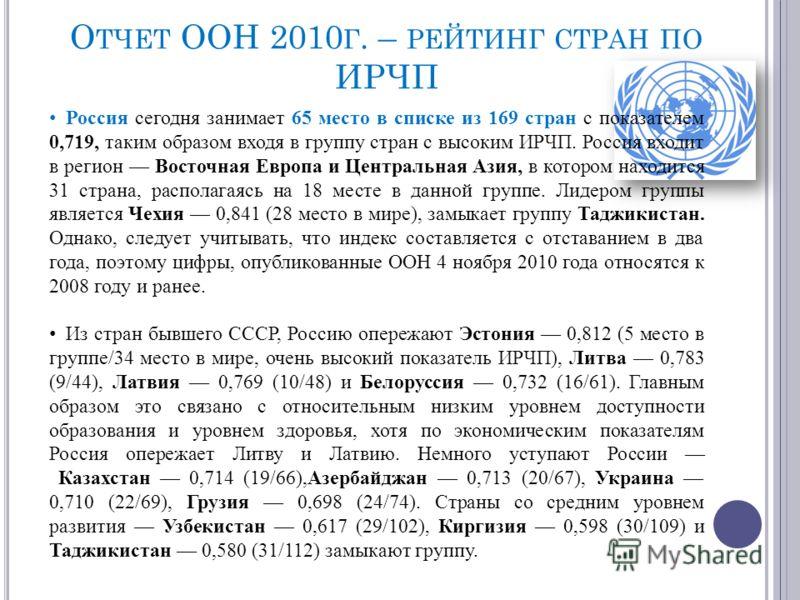 О ТЧЕТ ООН 2010 Г. – РЕЙТИНГ СТРАН ПО ИРЧП Россия сегодня занимает 65 место в списке из 169 стран с показателем 0,719, таким образом входя в группу стран с высоким ИРЧП. Россия входит в регион Восточная Европа и Центральная Азия, в котором находится
