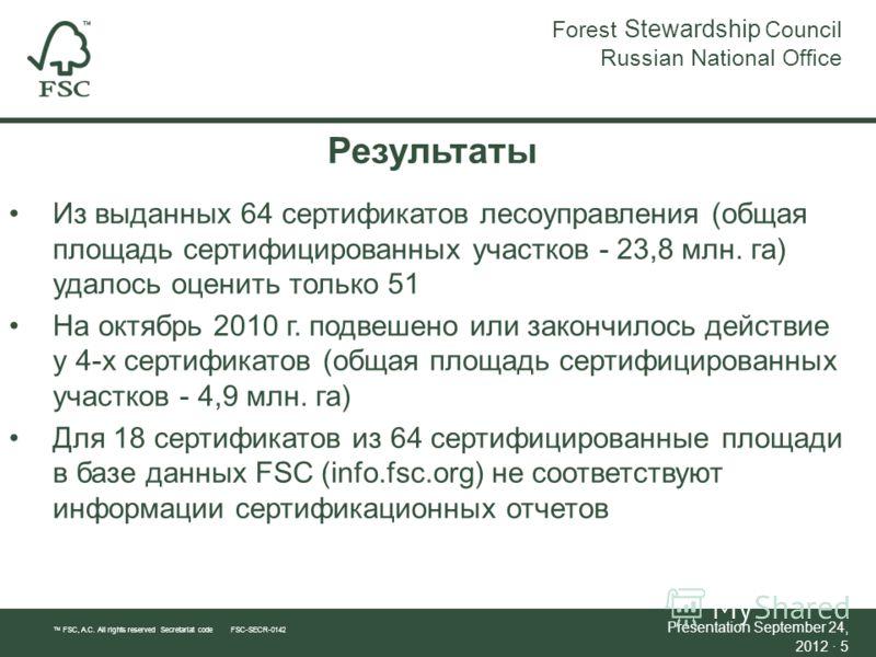 Результаты Из выданных 64 сертификатов лесоуправления (общая площадь сертифицированных участков - 23,8 млн. га) удалось оценить только 51 На октябрь 2010 г. подвешено или закончилось действие у 4-х сертификатов (общая площадь сертифицированных участк