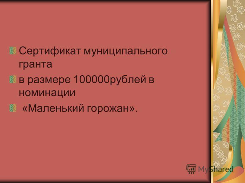 Сертификат муниципального гранта в размере 100000рублей в номинации «Маленький горожан».