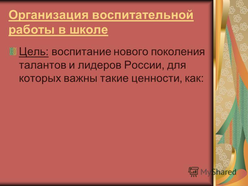 Организация воспитательной работы в школе Цель: воспитание нового поколения талантов и лидеров России, для которых важны такие ценности, как: