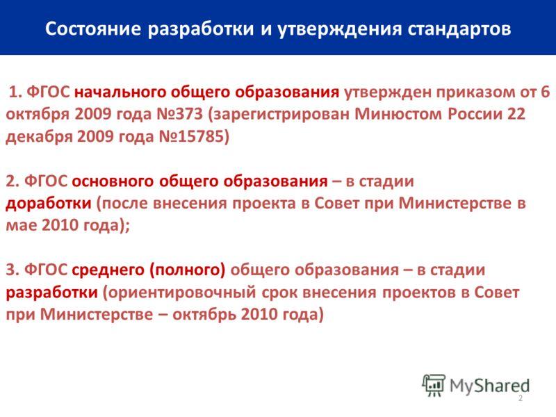 2 Состояние разработки и утверждения стандартов 1. ФГОС начального общего образования утвержден приказом от 6 октября 2009 года 373 (зарегистрирован Минюстом России 22 декабря 2009 года 15785) 2. ФГОС основного общего образования – в стадии доработки