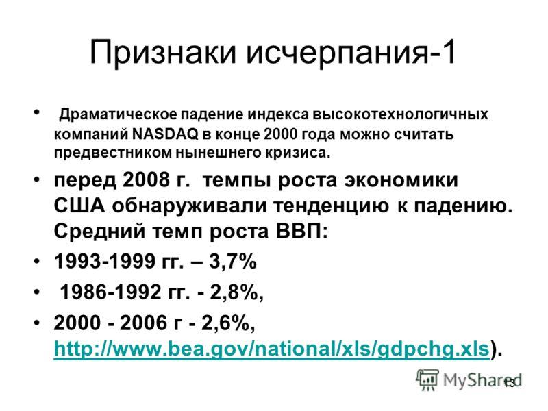 13 Признаки исчерпания-1 Драматическое падение индекса высокотехнологичных компаний NASDAQ в конце 2000 года можно считать предвестником нынешнего кризиса. перед 2008 г. темпы роста экономики США обнаруживали тенденцию к падению. Средний темп роста В