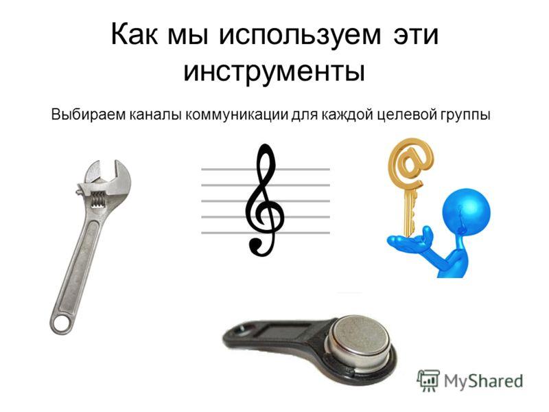Как мы используем эти инструменты Выбираем каналы коммуникации для каждой целевой группы