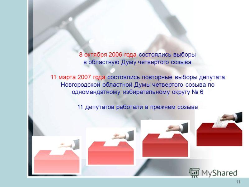 11 8 октября 2006 года состоялись выборы в областную Думу четвертого созыва 11 марта 2007 года состоялись повторные выборы депутата Новгородской областной Думы четвертого созыва по одномандатному избирательному округу 6 11 депутатов работали в прежне