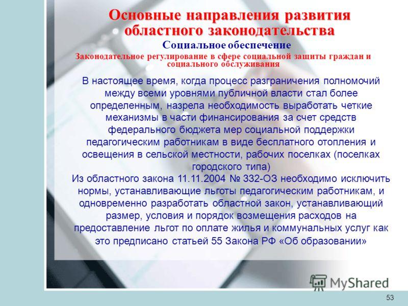 53 Основные направления развития областного законодательства Социальное обеспечение Законодательное регулирование в сфере социальной защиты граждан и социального обслуживания В настоящее время, когда процесс разграничения полномочий между всеми уровн