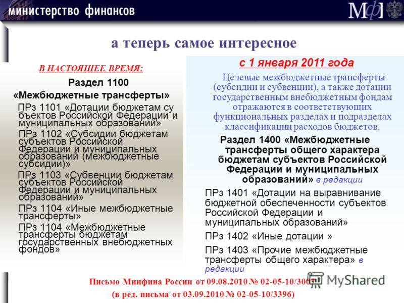 В НАСТОЯЩЕЕ ВРЕМЯ: Раздел 1100 «Межбюджетные трансферты» ПРз 1101 «Дотации бюджетам су бъектов Российской Федерации и муниципальных образований» ПРз 1102 «Субсидии бюджетам субъектов Российской Федерации и муниципальных образований (межбюджетные субс