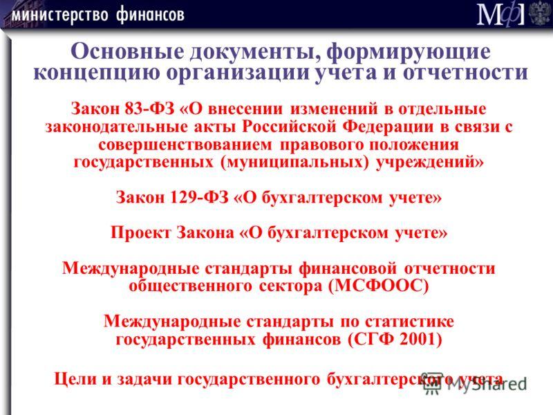 Основные документы, формирующие концепцию организации учета и отчетности Закон 83-ФЗ «О внесении изменений в отдельные законодательные акты Российской Федерации в связи с совершенствованием правового положения государственных (муниципальных) учрежден