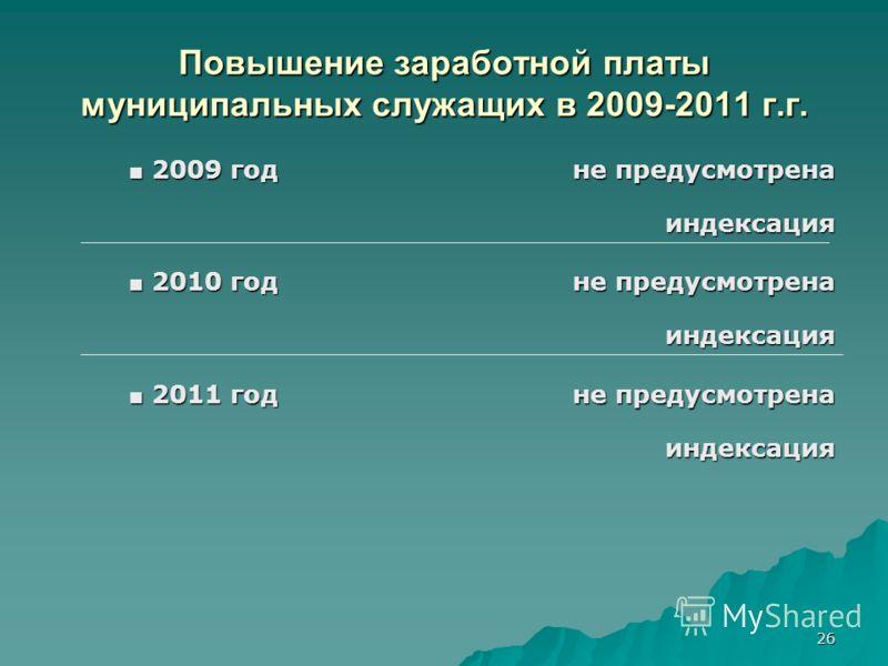 26 Повышение заработной платы муниципальных служащих в 2009-2011 г.г. 2009 год не предусмотрена 2009 год не предусмотренаиндексация 2010 год не предусмотрена 2010 год не предусмотренаиндексация 2011 годне предусмотрена 2011 годне предусмотренаиндекса