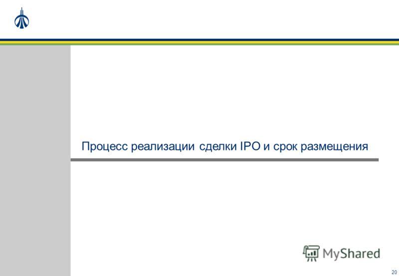 20 Процесс реализации сделки IPO и срок размещения