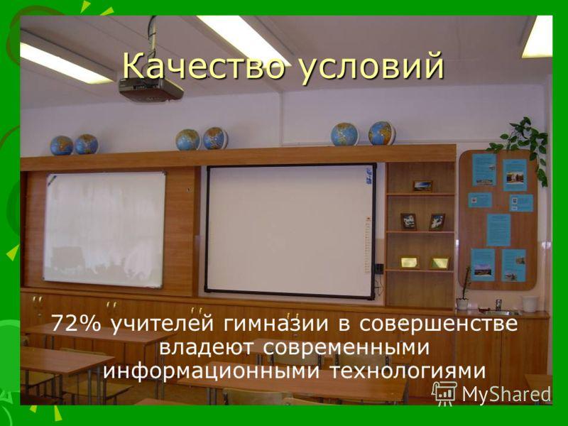 Качество условий 72% учителей гимназии в совершенстве владеют современными информационными технологиями