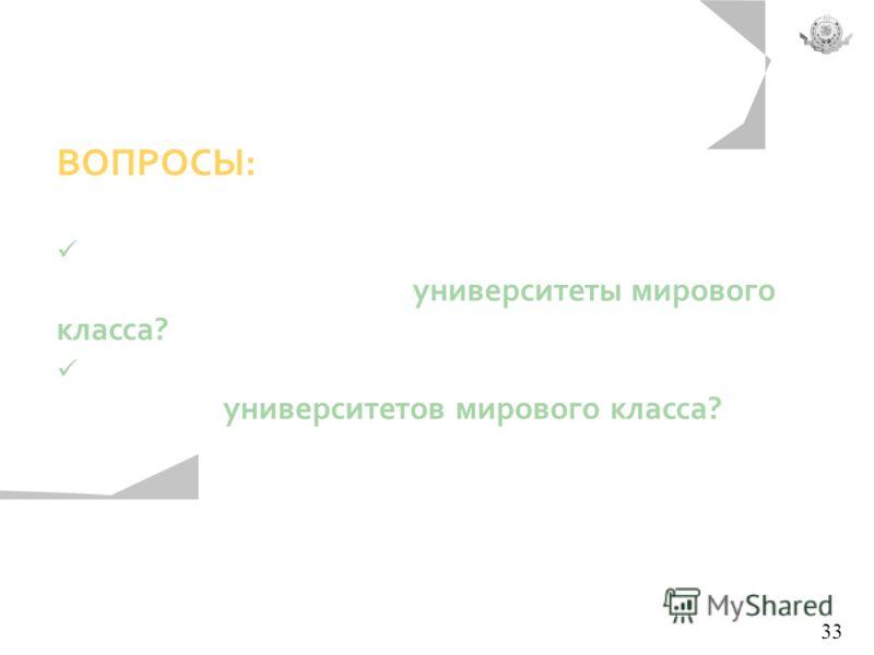 ВОПРОСЫ: Могут ли российские университеты позиционироваться как университеты мирового класса? Соответствуют ли российские университеты критериям университетов мирового класса? 33