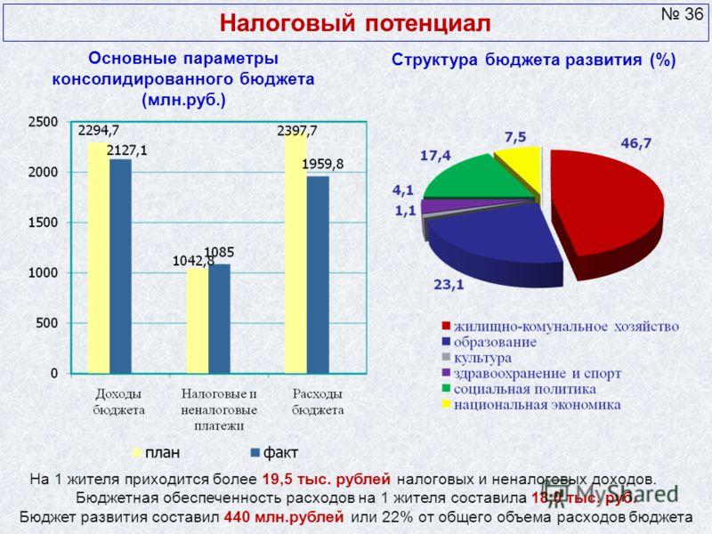 Основные параметры консолидированного бюджета (млн.руб.) Налоговый потенциал На 1 жителя приходится более 19,5 тыс. рублей налоговых и неналоговых доходов. Бюджетная обеспеченность расходов на 1 жителя составила 18,0 тыс. руб. Бюджет развития состави