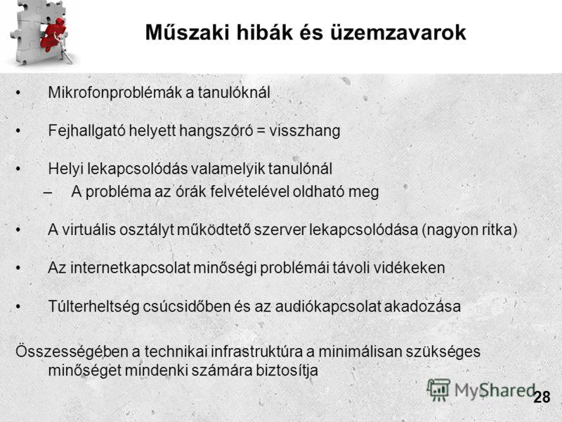 Műszaki hibák és üzemzavarok Mikrofonproblémák a tanulóknál Fejhallgató helyett hangszóró = visszhang Helyi lekapcsolódás valamelyik tanulónál –A probléma az órák felvételével oldható meg A virtuális osztályt működtető szerver lekapcsolódása (nagyon