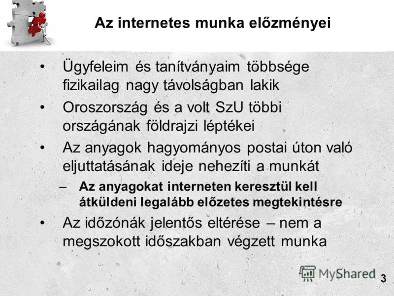 Az internetes munka előzményei Ügyfeleim és tanítványaim többsége fizikailag nagy távolságban lakik Oroszország és a volt SzU többi országának földrajzi léptékei Az anyagok hagyományos postai úton való eljuttatásának ideje nehezíti a munkát –Az anyag