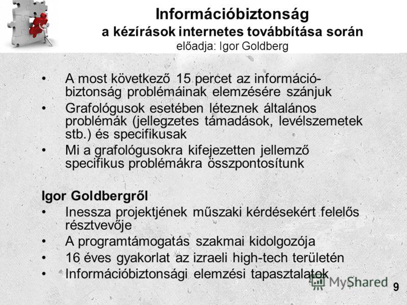 Információbiztonság a kézírások internetes továbbítása során előadja: Igor Goldberg A most következő 15 percet az információ- biztonság problémáinak elemzésére szánjuk Grafológusok esetében léteznek általános problémák (jellegzetes támadások, levélsz