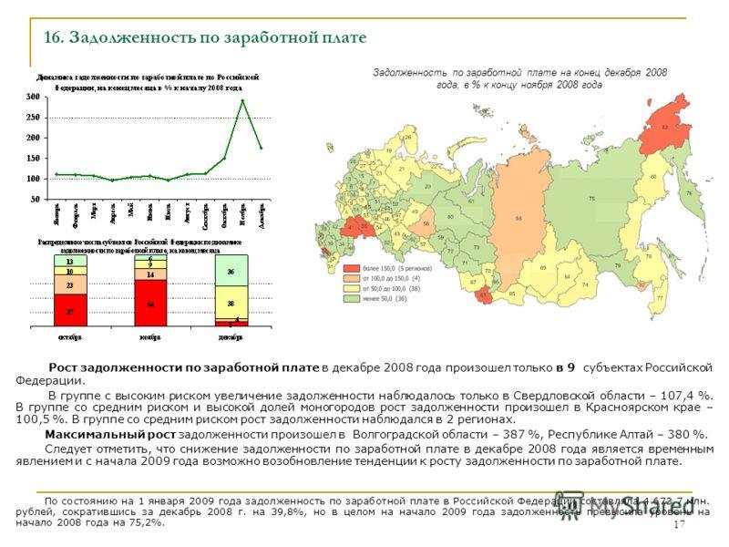 17 16. Задолженность по заработной плате Рост задолженности по заработной плате в декабре 2008 года произошел только в 9 субъектах Российской Федерации. В группе с высоким риском увеличение задолженности наблюдалось только в Свердловской области – 10