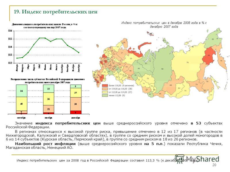 20 19. Индекс потребительских цен Значение индекса потребительских цен выше среднероссийского уровня отмечено в 53 субъектах Российской Федерации. В регионах относящихся к высокой группе риска, превышение отмечено в 12 из 17 регионов (в частности Ниж