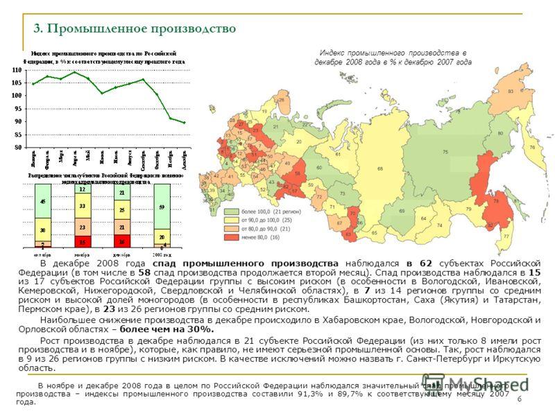 6 3. Промышленное производство В декабре 2008 года спад промышленного производства наблюдался в 62 субъектах Российской Федерации (в том числе в 58 спад производства продолжается второй месяц). Спад производства наблюдался в 15 из 17 субъектов Россий