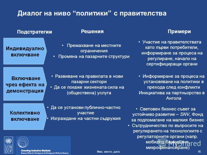 16Име, място, дата Диалог на ниво политики с правителства Индивидуално включване Премахване на местните ограничения Промяна на пазарните структури Включване чрез ефекта на демонстрация Участие на правителствата като първи потребители, информиране за