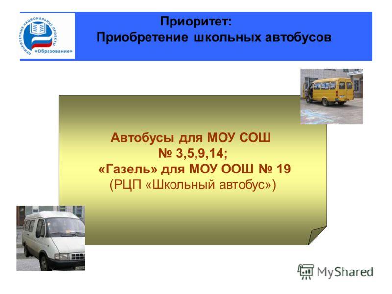 Приоритет: Приобретение школьных автобусов Автобусы для МОУ СОШ 3,5,9,14; «Газель» для МОУ ООШ 19 (РЦП «Школьный автобус»)
