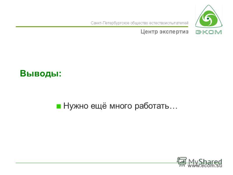 www.ecom.su Выводы: Нужно ещё много работать…