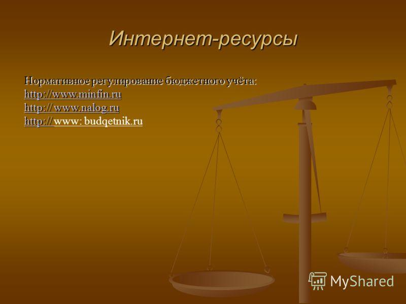 Интернет-ресурсы Нормативное регулирование бюджетного учёта: http://www.minfin.ru http://www.minfin.ru http:// www.nalog.ru http:// www.nalog.ru http:// http:// http:// www: budqetnik.ru