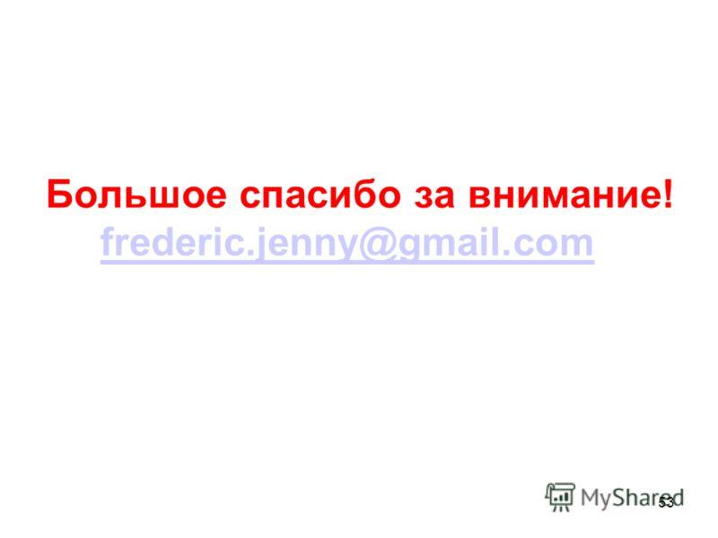 53 Большое спасибо за внимание! frederic.jenny@gmail.com frederic.jenny@gmail.com