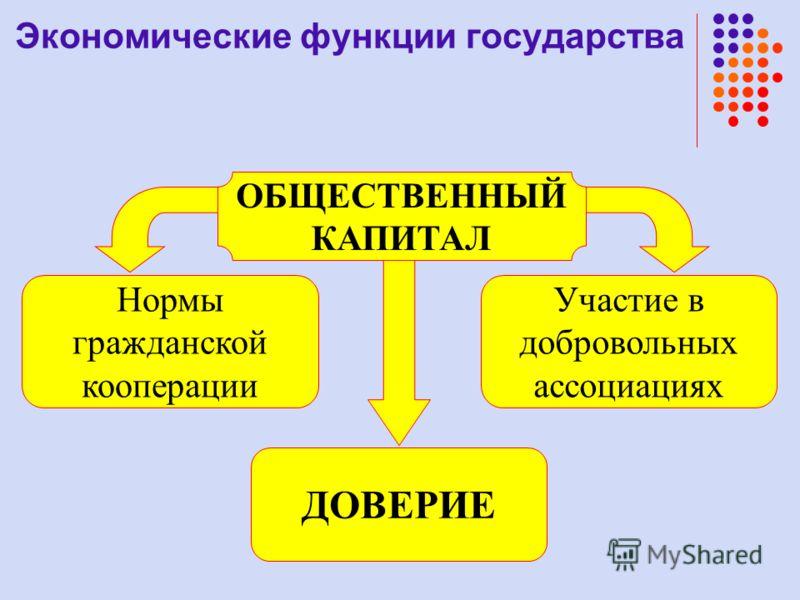 Участие в добровольных ассоциациях ОБЩЕСТВЕННЫЙ КАПИТАЛ Нормы гражданской кооперации ДОВЕРИЕ Экономические функции государства