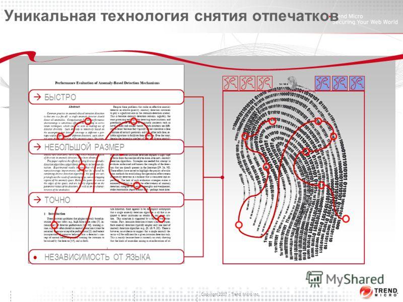 Copyright 2007 - Trend Micro Inc. Уникальная технология снятия отпечатков НЕБОЛЬШОЙ РАЗМЕР БЫСТРО ТОЧНО НЕЗАВИСИМОСТЬ ОТ ЯЗЫКА