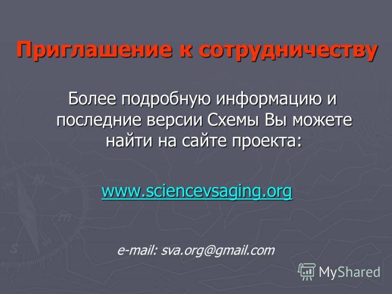 Приглашение к сотрудничеству Более подробную информацию и последние версии Схемы Вы можете найти на сайте проекта: Более подробную информацию и последние версии Схемы Вы можете найти на сайте проекта:www.sciencevsaging.org e-mail: sva.org@gmail.com