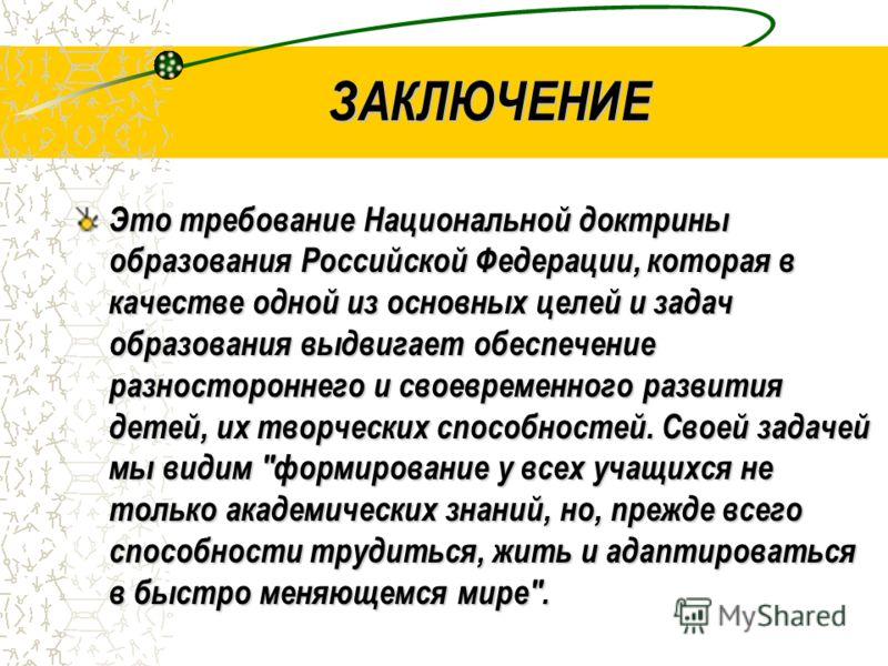ЗАКЛЮЧЕНИЕ Это требование Национальной доктрины образования Российской Федерации, которая в качестве одной из основных целей и задач образования выдвигает обеспечение разностороннего и своевременного развития детей, их творческих способностей. Своей