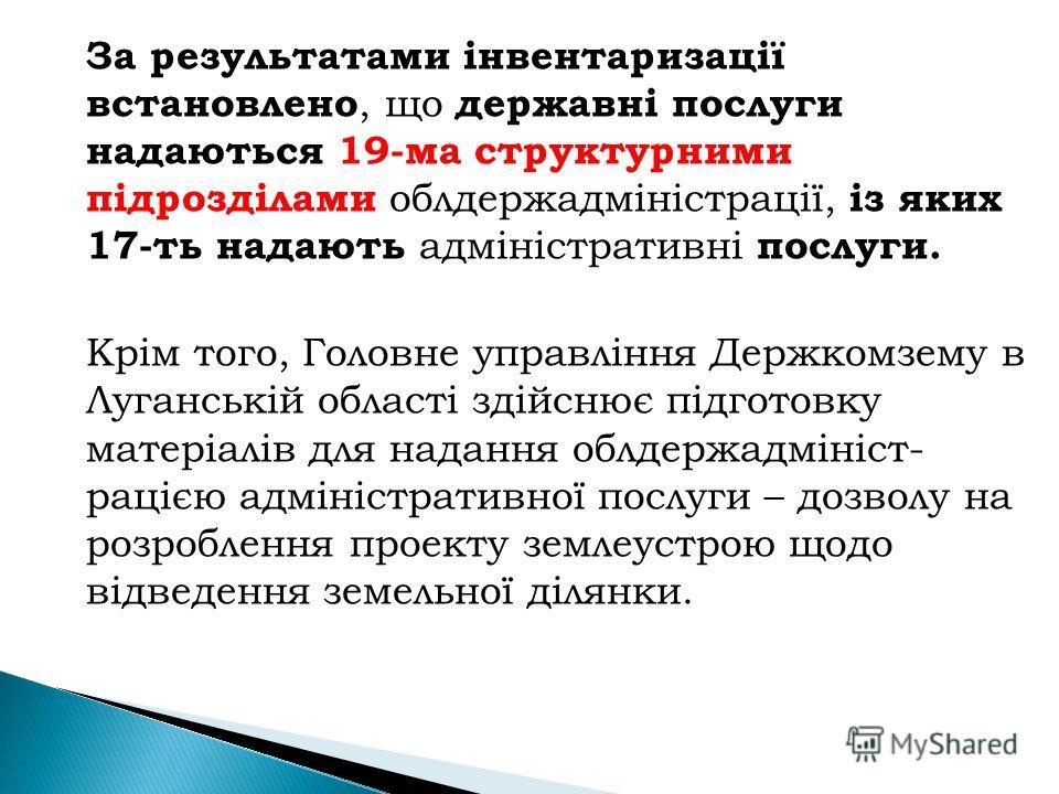 За результатами інвентаризації встановлено, що державні послуги надаються 19-ма структурними підрозділами облдержадміністрації, із яких 17-ть надають адміністративні послуги. Крім того, Головне управління Держкомзему в Луганській області здійснює під
