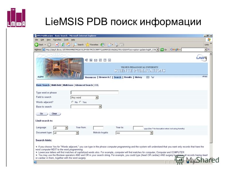 LieMSIS PDB поиск информации