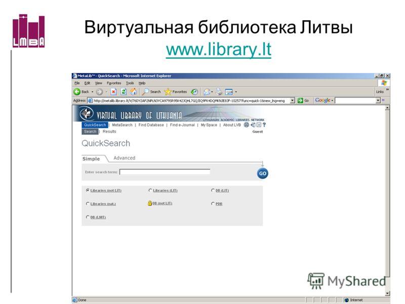 Виртуальная библиотека Литвы www.library.lt www.library.lt