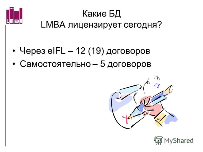 Какие БД LMBA лицензирует cегодня? Через eIFL – 12 (19) договоров Самостоятельно – 5 договоров