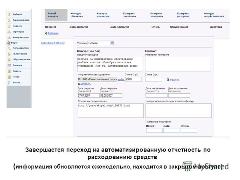 Завершается переход на автоматизированную отчетность по расходованию средств ( информация обновляется еженедельно, находится в закрытом доступе)