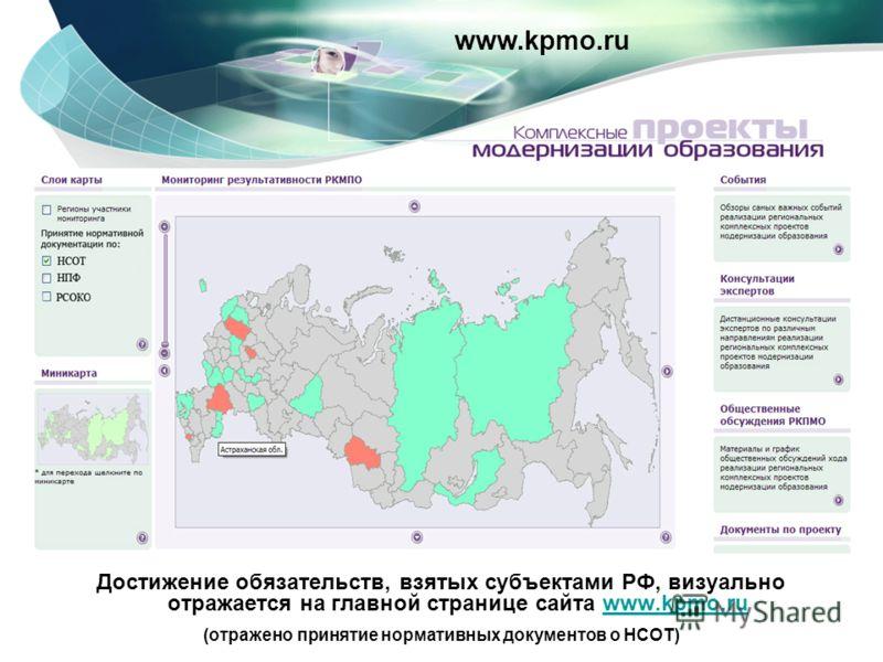Достижение обязательств, взятых субъектами РФ, визуально отражается на главной странице сайта www.kpmo.ruwww.kpmo.ru (отражено принятие нормативных документов о НСОТ) www.kpmo.ru