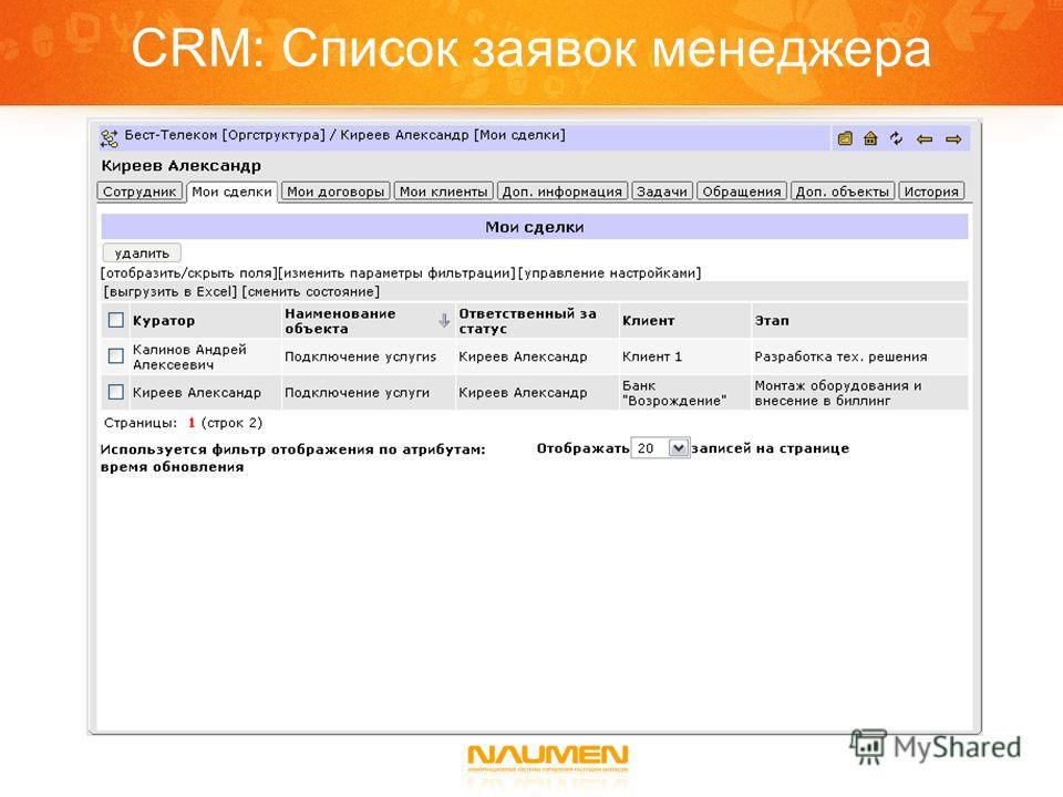 CRM: Список заявок менеджера