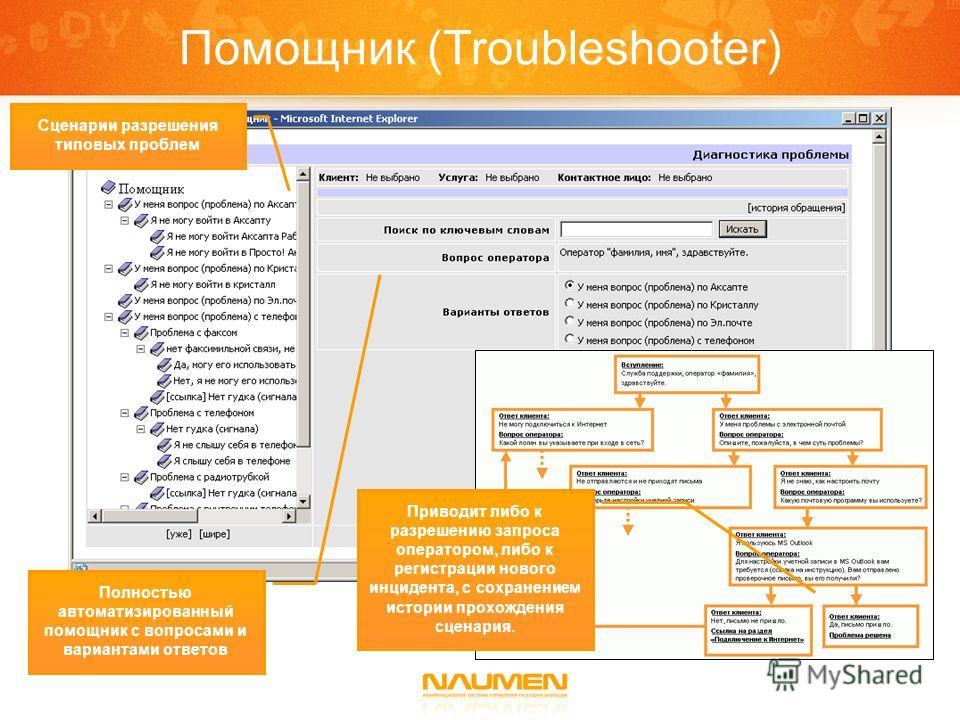 Помощник (Troubleshooter) Сценарии разрешения типовых проблем Полностью автоматизированный помощник с вопросами и вариантами ответов Приводит либо к разрешению запроса оператором, либо к регистрации нового инцидента, с сохранением истории прохождения