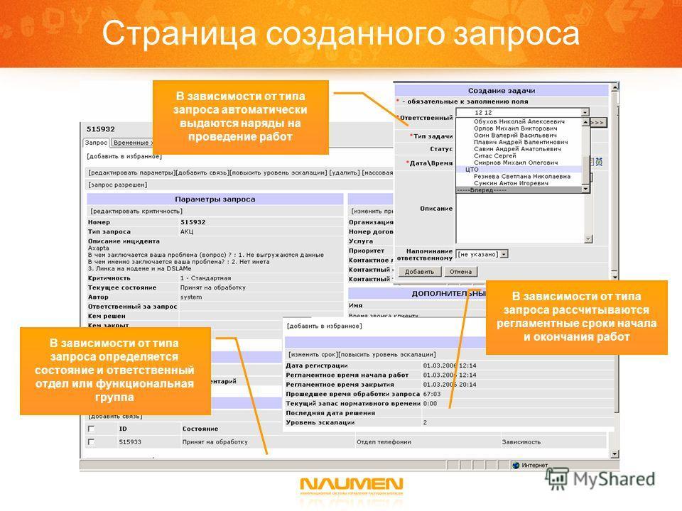 Страница созданного запроса В зависимости от типа запроса автоматически выдаются наряды на проведение работ В зависимости от типа запроса определяется состояние и ответственный отдел или функциональная группа В зависимости от типа запроса рассчитываю
