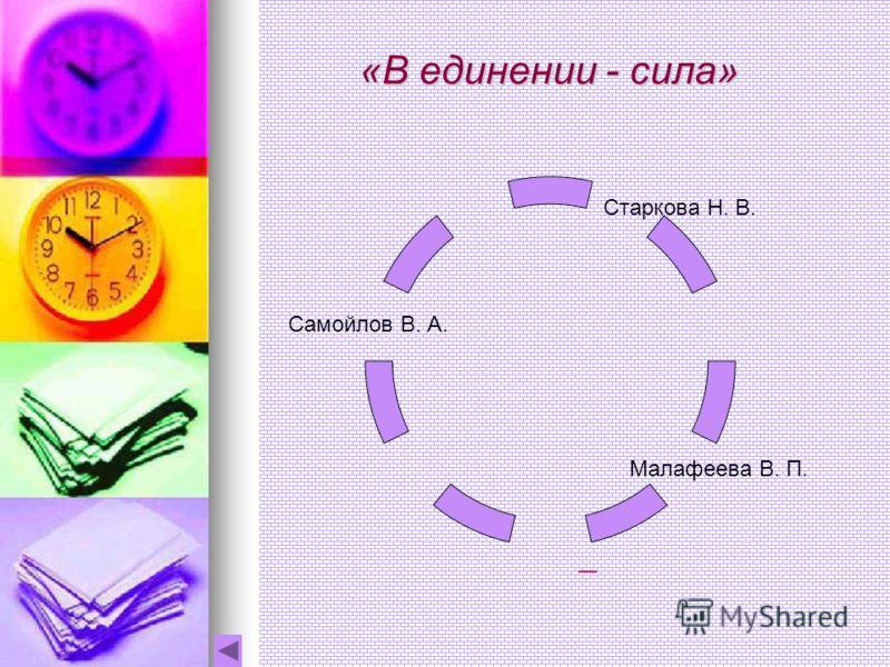 «В единении - сила» Старкова Н. В. Малафеева В. П. Самойлов В. А.