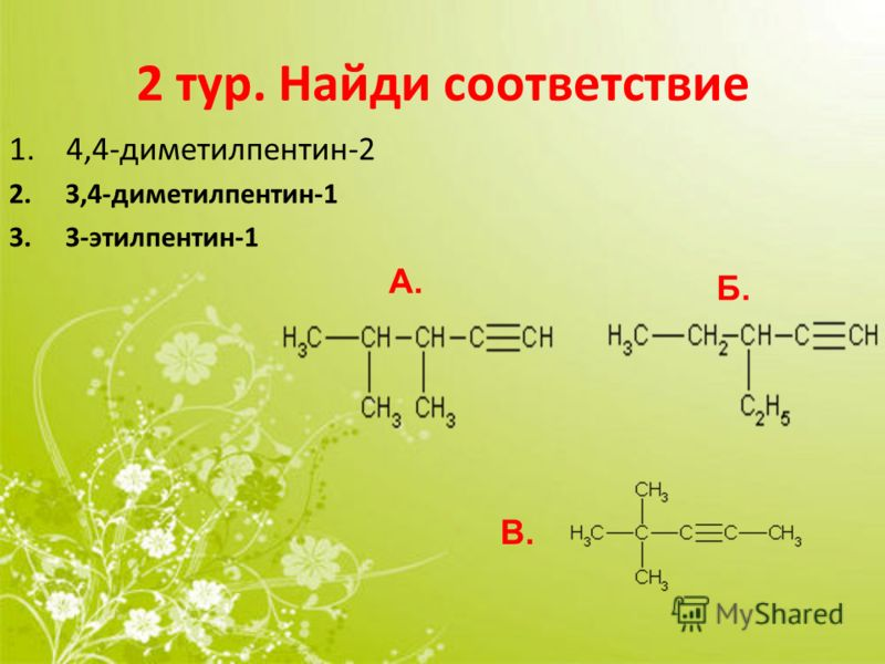 2 тур. Найди соответствие 1. 4,4-диметилпентин-2 2. 3,4-диметилпентин-1 3. 3-этилпентин-1 А. Б. В.