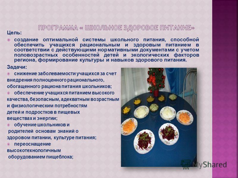 Цель: создание оптимальной системы школьного питания, способной обеспечить учащихся рациональным и здоровым питанием в соответствии с действующими нормативными документами с учетом половозрастных особенностей детей и экологических факторов региона, ф