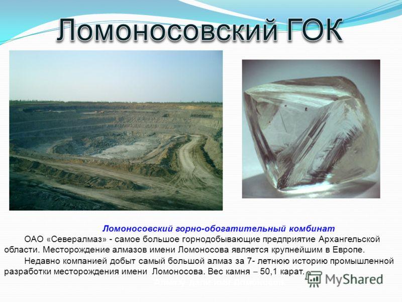Ломоносовский горно-обогатительный комбинат ОАО « Севералмаз » - самое большое горнодобывающие предприятие Архангельской области. Месторождение алмазов имени Ломоносова является крупнейшим в Европе. Недавно компанией добыт самый большой алмаз за 7- л