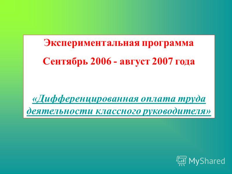 Экспериментальная программа Сентябрь 2006 - август 2007 года «Дифференцированная оплата труда деятельности классного руководителя»
