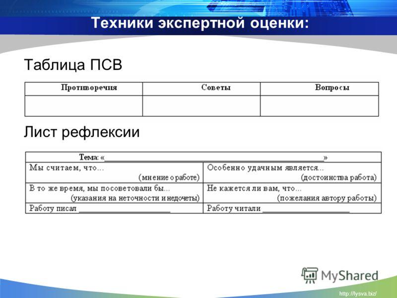 http://lysva.biz/ Техники экспертной оценки: Таблица ПСВ Лист рефлексии