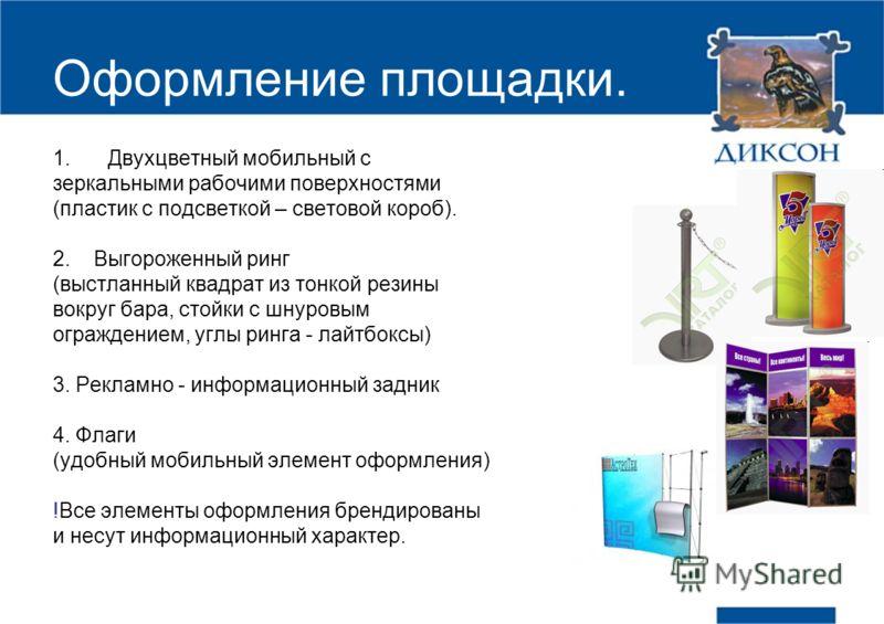 Оформление площадки. 1.Двухцветный мобильный с зеркальными рабочими поверхностями (пластик с подсветкой – световой короб). 2. Выгороженный ринг (выстланный квадрат из тонкой резины вокруг бара, стойки с шнуровым ограждением, углы ринга - лайтбоксы) 3