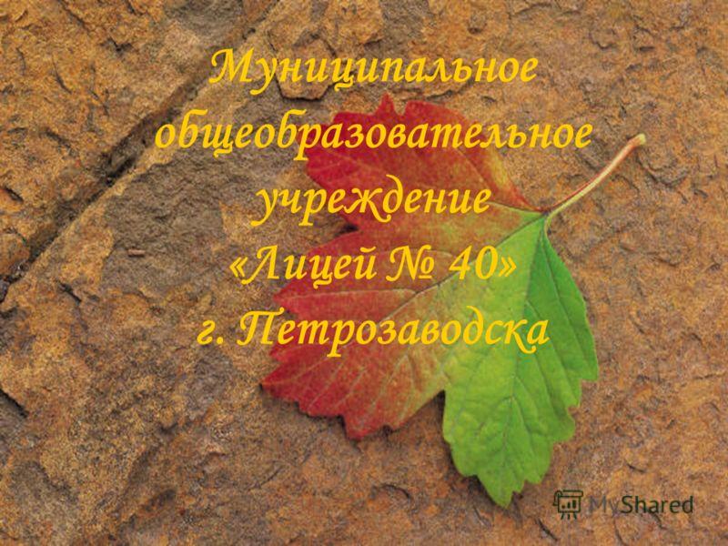 Муниципальное общеобразовательное учреждение «Лицей 40» г. Петрозаводска