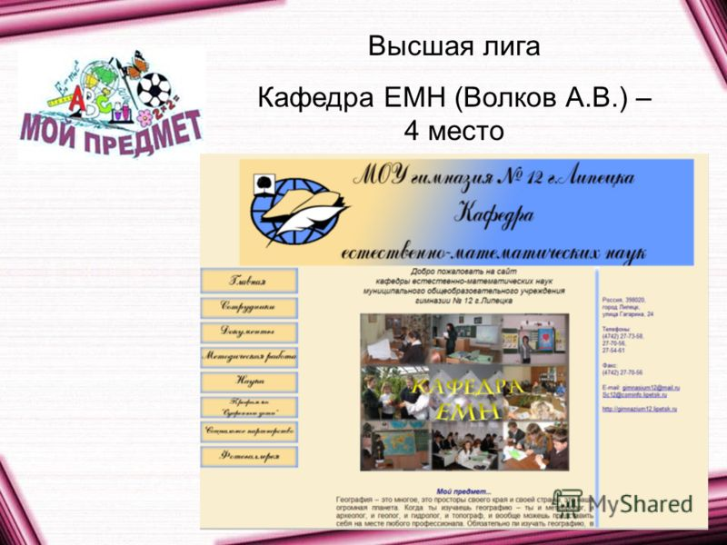 Высшая лига Кафедра ЕМН (Волков А.В.) – 4 место