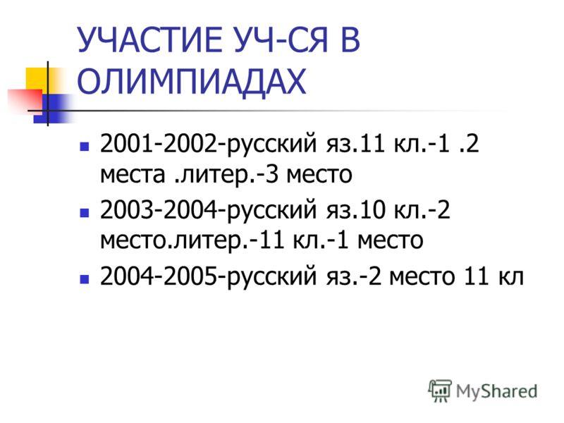 УЧАСТИЕ УЧ-СЯ В ОЛИМПИАДАХ 2001-2002-русский яз.11 кл.-1.2 места.литер.-3 место 2003-2004-русский яз.10 кл.-2 место.литер.-11 кл.-1 место 2004-2005-русский яз.-2 место 11 кл